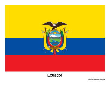 Ecuador Free Printable Flag