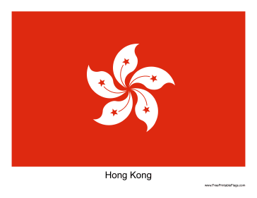 Hong Kong Free Printable Flag