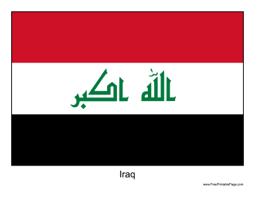 Iraq Free Printable Flag