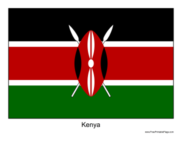 Kenya Free Printable Flag