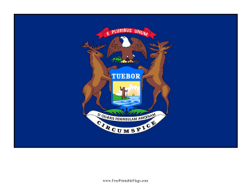 Michigan Free Printable Flag