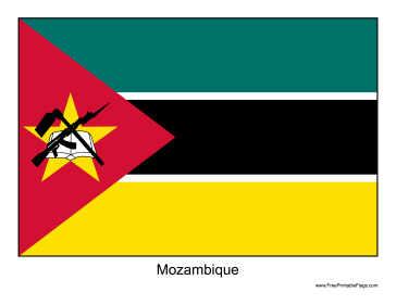 Mozambique Free Printable Flag
