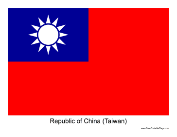 Republic of China (Taiwan) Free Printable Flag