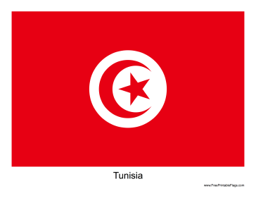 Tunisia Free Printable Flag