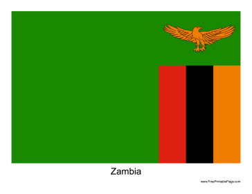 Zambia Free Printable Flag